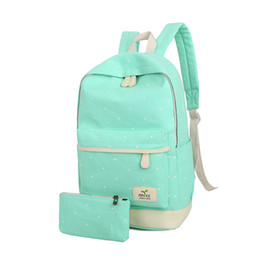 Wholesale Canvas Big Backpack For School - Canvas Women Backpack Big Capacity School Bags For Teenagers Dot Printing Backpacks For Girls