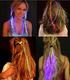 Wholesale Flash Extensions - Luminous Light Up LED Hair Extension Flash Braid Party Girl Hair Glow by Fiber Optic For Party Christmas Halloween Night Lights Decoration