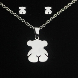 Wholesale Cute Teddy Girl - Fashion Cute Teddy Bear Jewelry Sets Silver Gold Stainless Steel Lovely Little Bear Pendant Earrings Sets For Women Girls