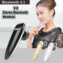 Wholesale Earpiece Phone Cable - V-8 High quality Earphones For Smartphone V8 Wireless Bluetooth earpiece Handsfree Headset Support Music With USB Cable