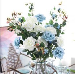 Rose artificiali di plastica online-Decorazione per feste da giardino per la casa
