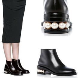 Wholesale Short Rainboots Women - high quality~ u641 34 40 black genuine leather pearl short boots runway catwalk it ce must have stylish fashion