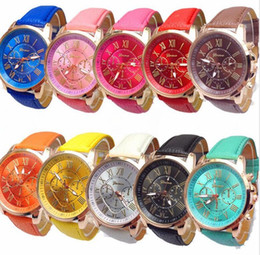 Wholesale Leather Dresses Wholesale - 50pcs fashion women dress geneva watch women rose gold color Fashion Roma Watch women dress watches leather strap watches