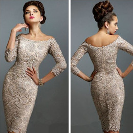 Wholesale Inexpensive Vintage Lighting - Hot Sale Full Lace Short Mother Bride Dresses Illusion 3 4 Sleeves Bateau Neck Zipper Back Inexpensive Formal Cocktail Party Gowns Custom