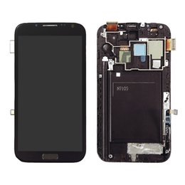 Wholesale Galaxy Ii Lcd Display - Tested One by One LCD Display Touch Screen Digitizer+ Frame For Samsung Galaxy Note II 2 N7100 N7105 i317 T889 Grey Free DHL