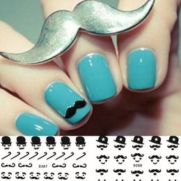 Wholesale Mustache Nail Decals - Hot Beauty Black Beard Mustache Hat Pattern 22 Design Water Nails Decal DIY Water Transfer Nail Art Sticker Wholesale