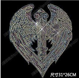 transferências de diamante para asas Desconto New31 * 26 cm padrões de roupas acessórios de vestuário Hot Fix Strass DIY asas shinning ângulos motivo de Transferência de Calor em Projeto de Ferro Na roupa