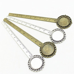 Wholesale Round Ruler - 5 pcs lot two color Alloy Cameo Round flower ruler Bookmarks 32*133mm(Fit 20mm) Round Cabochon Setting A4239