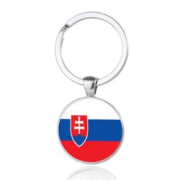 Wholesale Wholesale Romania - Romania Nation Flag Keychains Glass Cabochon Car Key Bag Accessories Southern Europe Countries Flags Keyings Wholesale New Arrival