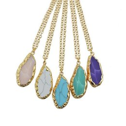 Wholesale Purple Agate Druzy - Handmade Natural Stone Red Purple Blue Agate Crystals Druzy Covered with gold Pendant Necklaces for Women Irregular Quartz Chain Necklace