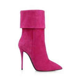 Wholesale Cylinder Hook - 2016 new fashion pointed toe pink folded shoe cylinder spike high heels zip winter women Roman boots half boots women shoes shoes women