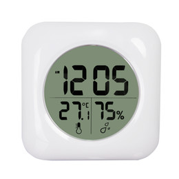 Wholesale Hygrometer Humidity Meter - Fashion White LCD NEW Waterproof Shower Bathroom Wall Clock Temperature Thermometer Hygrometer Meter Gauge Monitor Humidity