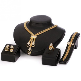 Wholesale Black Jade Bracelet Bead - European Style Retro Jewelry Set For Women Golden Beads Collar Necklace Earrings Bracelet Fine Rings Sets Party Costume