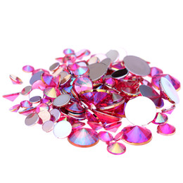 Wholesale 3d Rose Nail Art - Rose AB Acrylic Rhinestones For 3D Nails Art 4mm 5mm 6mm 10mm And Mixed Sizes Flatback Pointed Glue On Stones DIY Crafts Designs