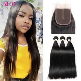 Wholesale Mix Length Cheap Virgin Hair - Brazilian Straight 3 Extension Bundles With Lace Closure Unprocessed Peruvian Malaysian Indian Virgin Human Hair Wefts Cheap Human Hair