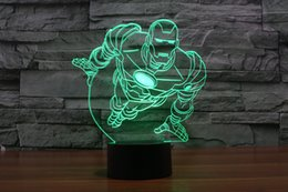 Wholesale Mushrooms Men - 2017 Iron Man 3D Night Lamp Optical Night Light RGB Lights Night Light DC 5V Factory Wholesale hot