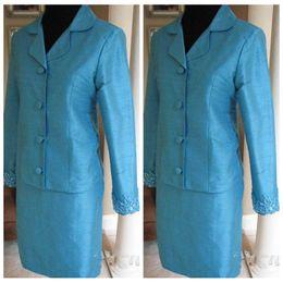 Wholesale Two Piece Taffeta Suit - Vintage Girls Pageant Dresses Two Pieces Long Sleeves jacket Short Mini Shirt Formal Interview Suit For Women New Style Lace Appliques