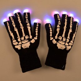Wholesale Led Rave Gloves Wholesale - LED Skeleton Gloves Light Up Shows Light Up Knit Gloves Light Show Gloves for Party Rave Birthday Halloween Costume Novelty Toy