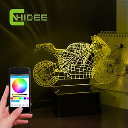 Wholesale Usb Lampe - Wholesale- USB Novelty Bluetooth Speaker Motorcycle 3D Music Lamp LED Table Night Lights Smart Phone App Controller Lighting Lampe for Kid