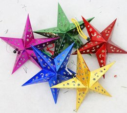 Wholesale Laser Multi Points - Hot Selling Christmas Paper Star Christmas Three-dimensional Laser Five-pointed Star Santa Xmas Decorations 2016 newest AA08