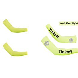 Wholesale Saxo Bank Cycling Arm Sleeves - CYCLING ARM SLEEVES SAXO BANK TINKOFF 2016 TINKOFF PRO TEAMFLUO Light CYCLING ARM WARMER BICYCLE OVERSLEEVES SIZE:S-XXL