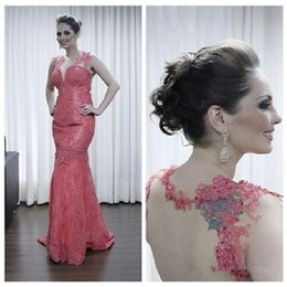 Wholesale Vogue Evening Dresses - 2016 Vogue Water Melon Sexy Sweetheart Neckling Evening Dresses Delicate Lace Appliques See Through Tulle Mermaid Backless Prom Gowns