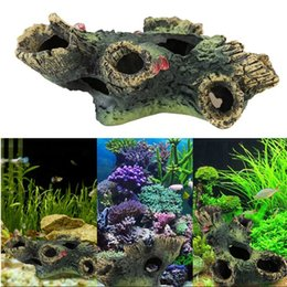 Wholesale Live Aquarium Fishes - Porous Artificial Resin Living Room Wood Fish Tank Beautify Decoration Mountain View Aquarium Ornament Accessories Arts And Crafts 8jl C R