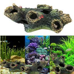 Wholesale Resin Fish Tank - Porous Artificial Resin Living Room Wood Fish Tank Beautify Decoration Mountain View Aquarium Ornament Accessories Arts And Crafts 8jl C R