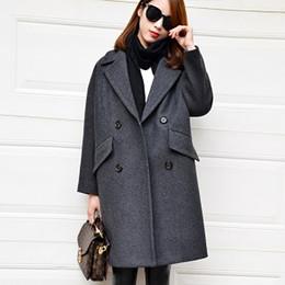 Wholesale Long Down Coat Camel - Dark Aqua wool coat 2016 turn down collar long cocoon shape casual winter coat women camel wool coats