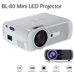 Wholesale Hd Video Movies - 2016 BL-80 Mini Portable LED Projector 1000 Lumens TFT LCD Full HD AV USB SD VGA HDMI For Video Games TV Home Theater Movie Proyector Beamer