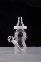 milchglas freies verschiffen Rabatt Ei Babyflasche Wasserpfeife Nette Glasbongs mit Downstem Diffusor Kleine Milchflasche Mini Becher Bong Freies Verschiffen