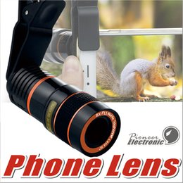 Wholesale Telescope 8x - 8X Zoom Telescope Lens Telephone Lens unniversal Optical Camera Telephoto phone len with clip for Iphone Samsung LG HTC Sony Smartphone