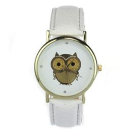 Wholesale Owl Dresses For Women - 2015 New Fashion Cartoon Owl Style Dress Gold Watch Women Clock Casual Wrist Watch Quartz Watches For Women Mens Gift