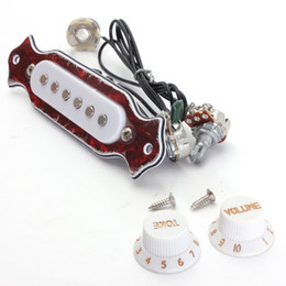 Wholesale Guitar Single Coil - High Quality Red+White Copper Single Magnetic Coil Noiseless Acoustic Electric Guitar Pickup Accessories Parts Magnetic Coil