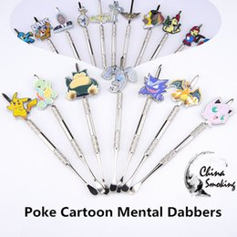 Wholesale Pipe Tools - Metal Dabbers Poke Packet Mon Cartoon glass bongs tool,water pipe, dab oil rigs smoking accessories grinder, glass bowl, silicone jar