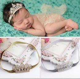 Wholesale Baby Tiara Crowns - Baby Tiara Headband Rhinestone and Pearl Tiara on Skinny Headband Infant Newborn Crown Headband Photo Prop 10pcs