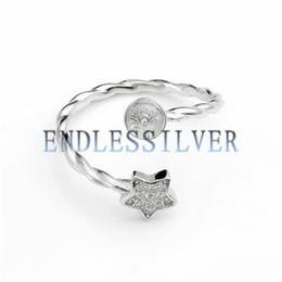 Wholesale Twist Mount - Star Ring Settings Base Twisted Band 925 Sterling Silver Zircon Findings Pearl Mounting for Pearl Party