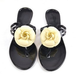 Wholesale Womens Jelly Flats Shoes - Wholesale- New Fashion Womens Camellia Flower Jelly Flat Sandals Ladies Sexy T Strap Summer Beach Slippers Shoes Black Beige Flip Flops