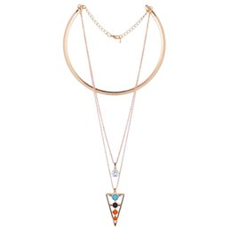Wholesale Triangle Shaped Beads - Triangle Shape Zircon Pendant Necklace Geometry Turquoise Colorful Beads Choker Necklace Crystal Rhinestone Jewelry Gifts for Women