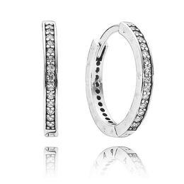 2016 NUEVOS auténticos pendientes de aro de plata de ley 925 con ajustes de CZ transparentes para los encantos de pandora joyería DIY joyería de moda 1 par / lote al por mayor desde fabricantes