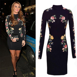 Wholesale Embroidery Mini Dress Design - Sexy Rose Floral 3D Appliques Patch Designs Embroidery Slim Off Shoulder Sheath Dress Package Hip Long Sleeve Vestidos QF-004