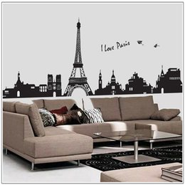Wholesale Stickers Paris - 60*90cm Removable Wall Stickers Classic Modern Paris Eiffel Tower Wall Stickers Home Decor Restaurants Living Room New Free Shipping
