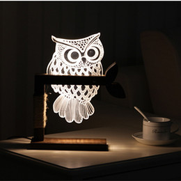 Wholesale Transparent Acrylic Board - Owl handmade wooden table lamp 3D night light LED acrylic transparent board eye decoration visual three-dimensional creative gifts