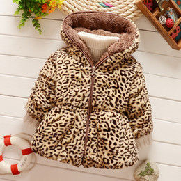 Wholesale Leopard Pocket Zipper Wholesale - Baby Girls Cashmere Thicken Warm Coats Outwear 2016 Winter Children Leopard Zipper Hooded Coat Kids Clothing Cute Girl Clothes