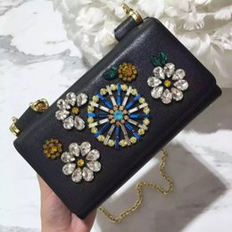 Wholesale Handmade Crystal Bags - D high class handmade inlay crystal shinning unique many card holders inside super good quality G leather crossing bag hand bag evening bag