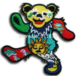 "Wholesale Wholesale Bear Patches - 3"" GRATEFUL DEAD Music Dance Bear Patch Music Band EMBROIDERED IRON On APPLIQUE Heavy Metal Rock Punk Badge Party Favor"