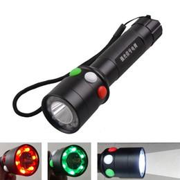 Linterna rgb online-Nueva Q5 Bright Tricolor Linterna LED Blanco Rojo Verde Señal de antorcha Ferroviaria Mini linterna tri-clolor