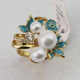 Wholesale Cheap Pearl Ring For Women - 2015 New popular women flower rings,gold fashion fake pearl ring rhinestone enamel ring jewelry Cheap jewelry pendants for men