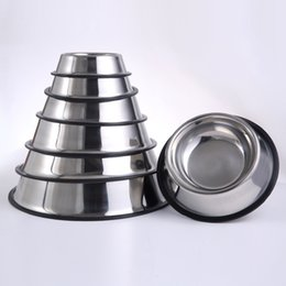 Wholesale plastic pet cups - Stainless Steel Dog Bowl Round Thickened Wear Resistant Pet Feeders Dishes Anti Skid Ring Cat Dogs Bowls 12 5yr BC