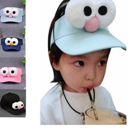 Wholesale Wholesale Strap Hat - Baby Kids Big Eye cap Unisex Kid's Baseball Caps with Adjustable Strap Cartoon Snapback Hat Sun Hat KKA2685